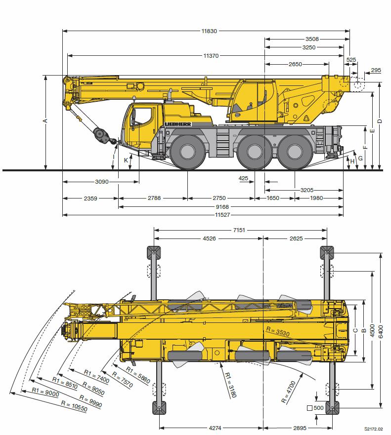 Характеристики автокрана Liebherr LTM 1050 50 тонн