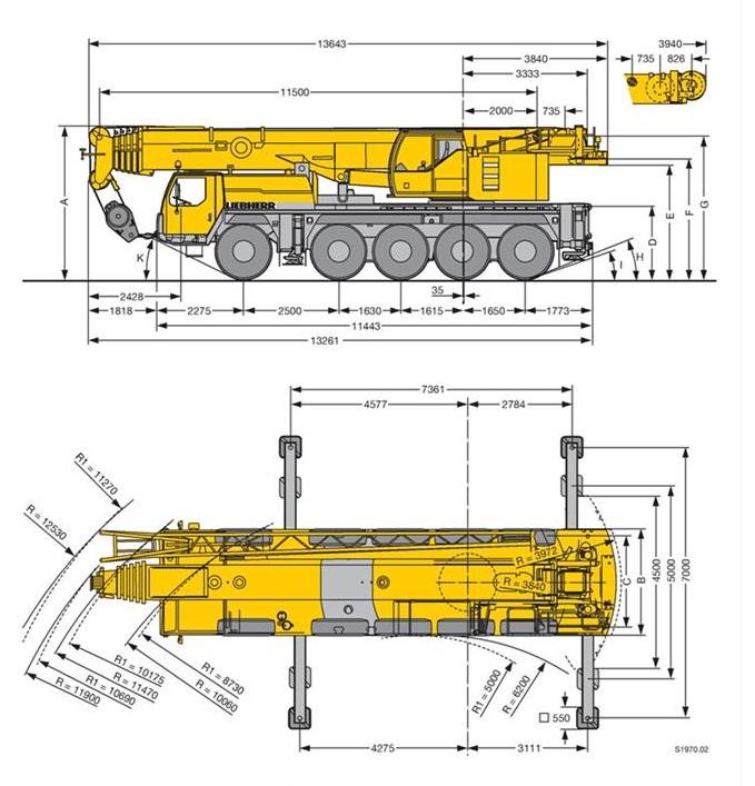 Характеристики автокрана Liebherr LTM 1100 100 тонн