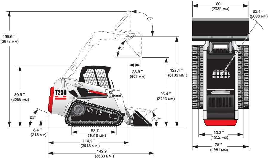 Характеристики гусеничного минипогрузчика Bobcat T250