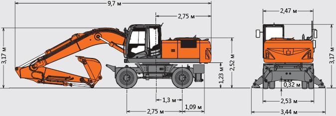 Технические характеристики колесного экскаватора Hitachi ZX210W