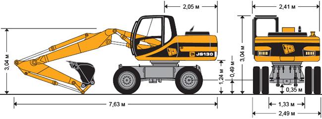 Технические характеристики колесного экскаватора JCB JS 130W