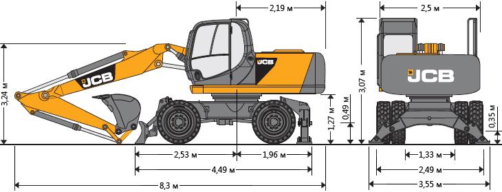Технические характеристики колесного экскаватора JCB JS 175W
