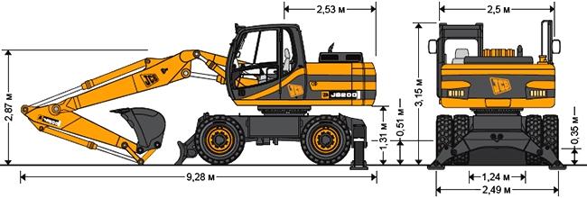Технические характеристики колесного экскаватора JCB JS 200W